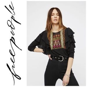 Free People Indie Ruffle Embroidered Blouse